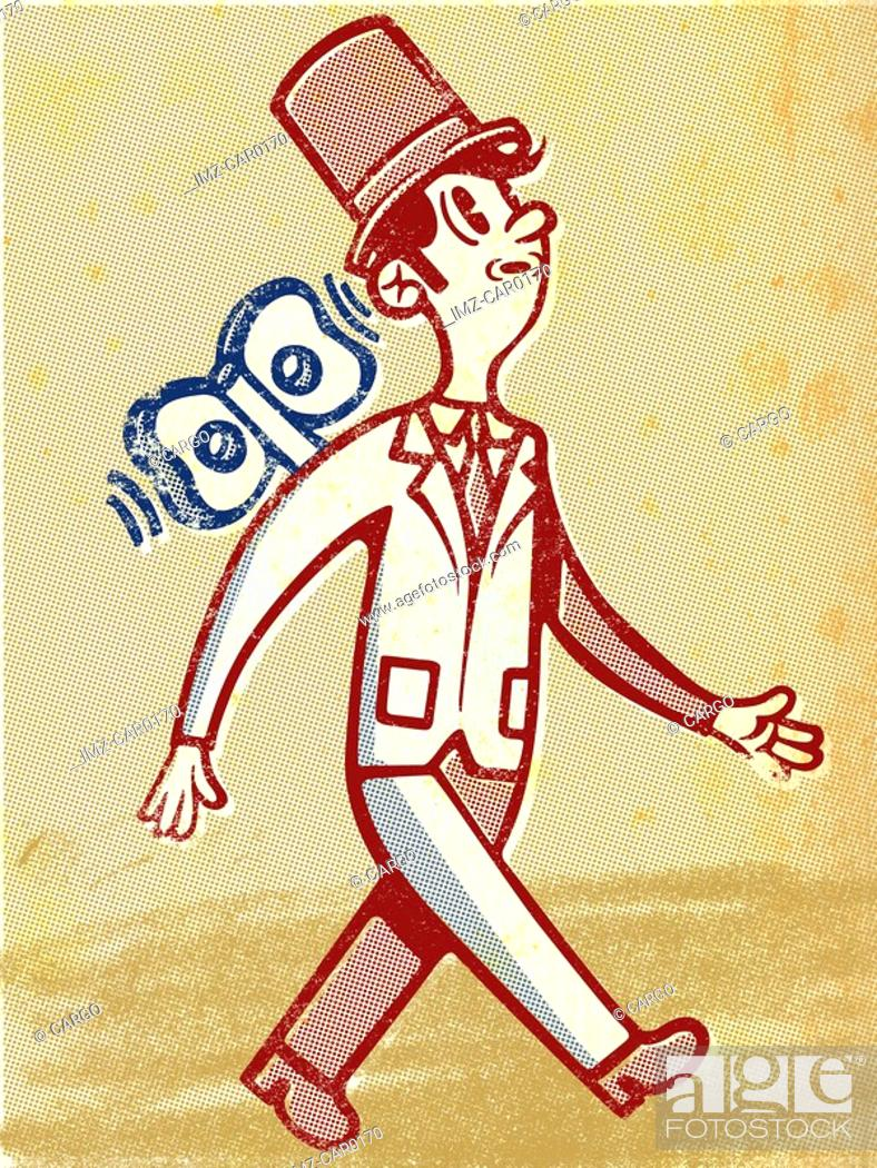 Stock Photo: Drawing of a businessman as windup toy.