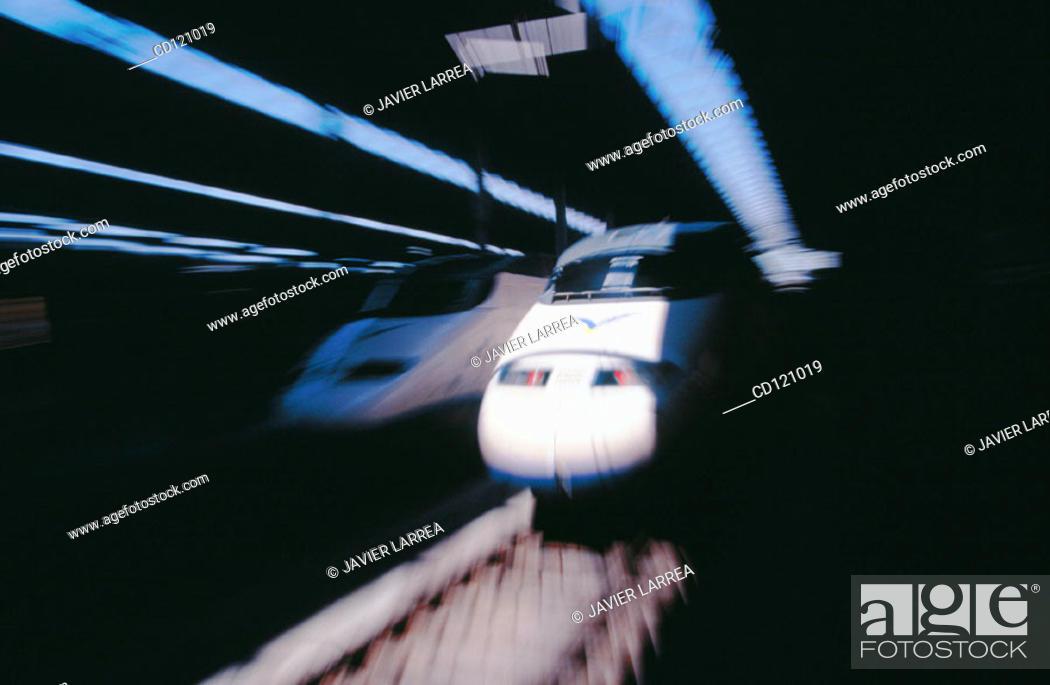Stock Photo: AVE (High speed train). Cordoba train station. Spain.