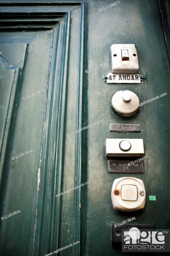 Stock Photo: Doorbell Flats, Lisbon, Portugal.