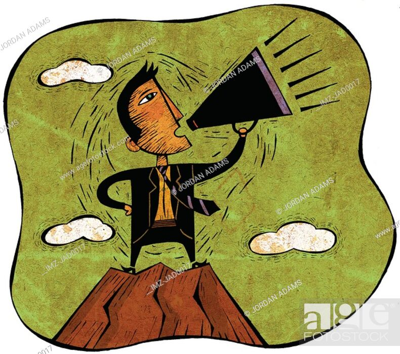 Stock Photo: Businessman standing on peak of mountain yelling through a megaphone.