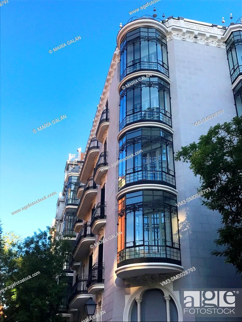 Stock Photo: Facade of Art-Nouveau house. Ayala street, Madrid, Spain.