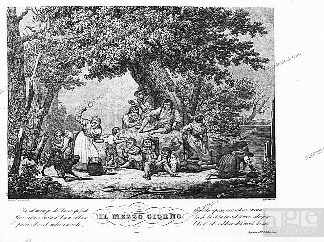 Imagen: The noon (Il mezzogiorno), by Luigi Rados and Roberto Focosi, 19th Century, lithography.