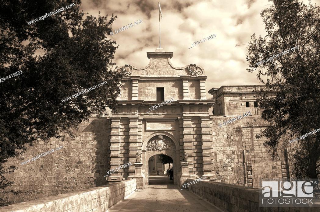 Stock Photo: Main Gate into Mdina, Malta.