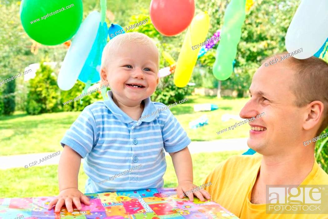 Stock Photo: young family celebrated birthday.