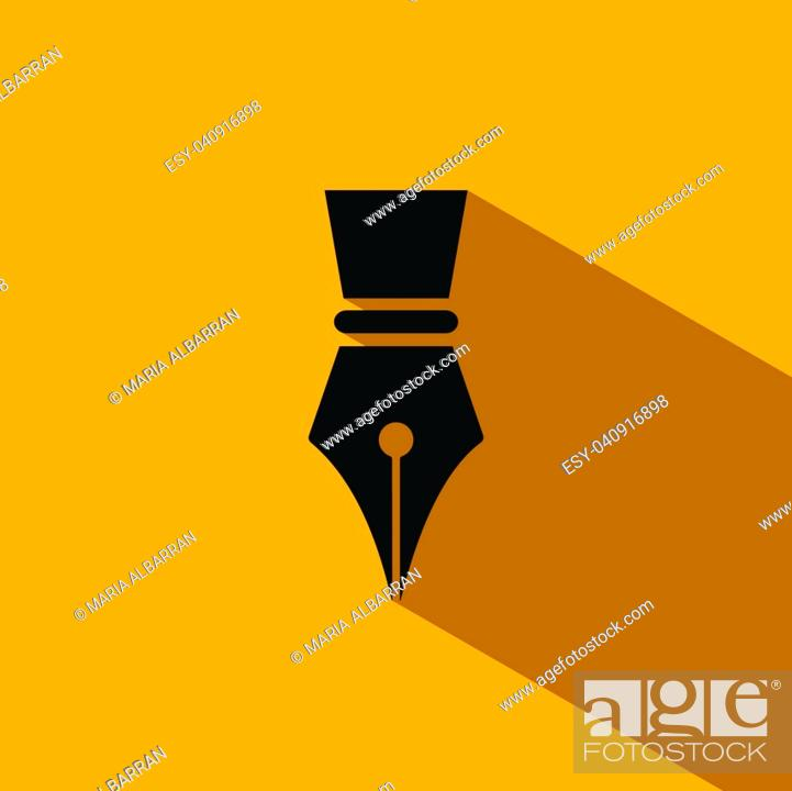 Stock Vector: Fountain pen icon with shadow on yellow background.
