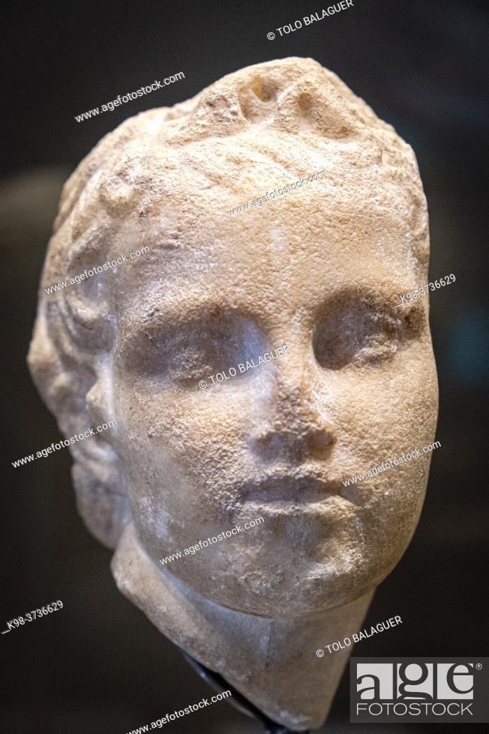 Stock Photo: sculpted face, Monographic Museum of Pollentia, Alcudia, Mallorca, Balearic Islands, Spain.
