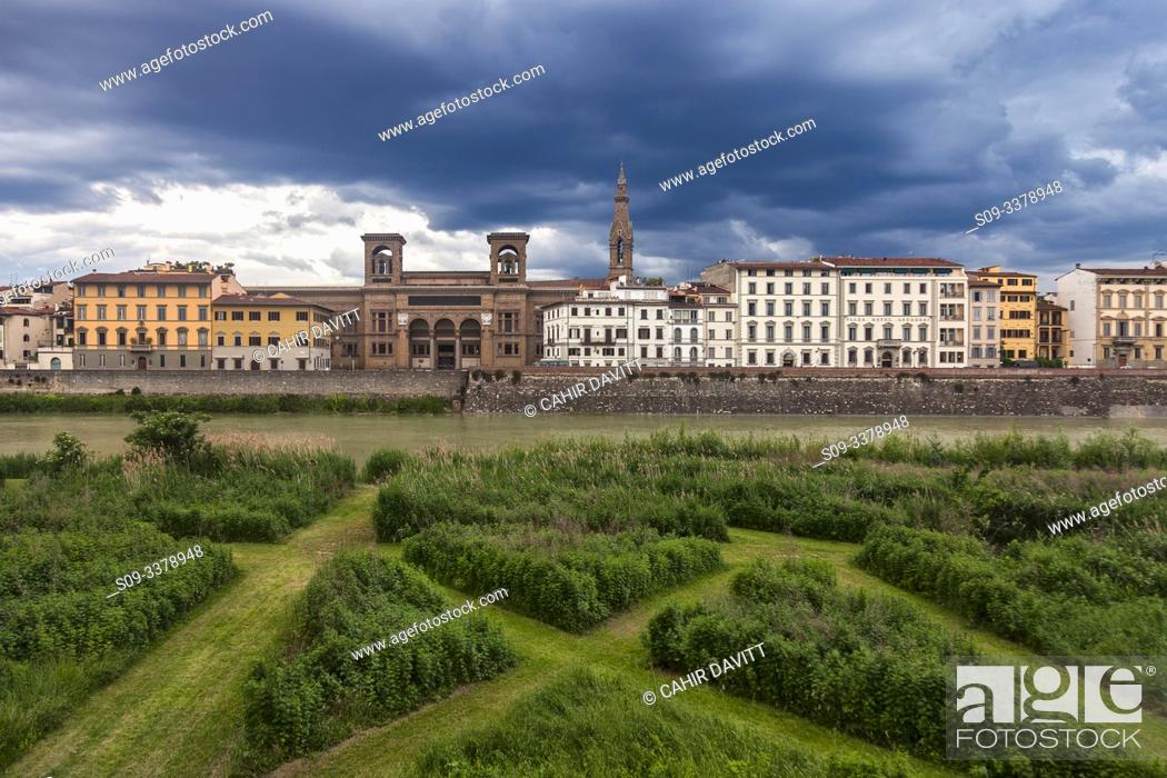 Stock Photo: The Terzo Giardino overlooking the River Arno, looking towards the Central National Library of Florence (Biblioteca Nazionale Centrale di Firenze, San Nicola.