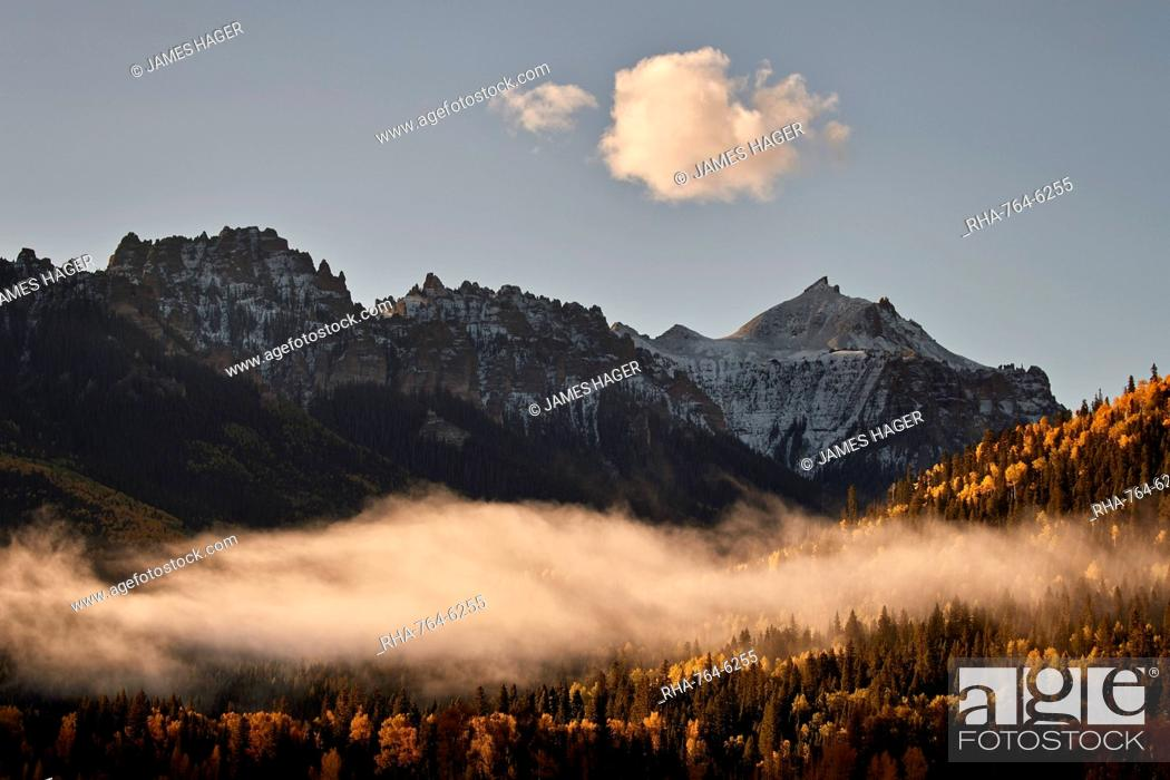 Stock Photo: Snow-covered mountain in the fall with fog, Uncompahgre National Forest, Colorado, United States of America, North America.