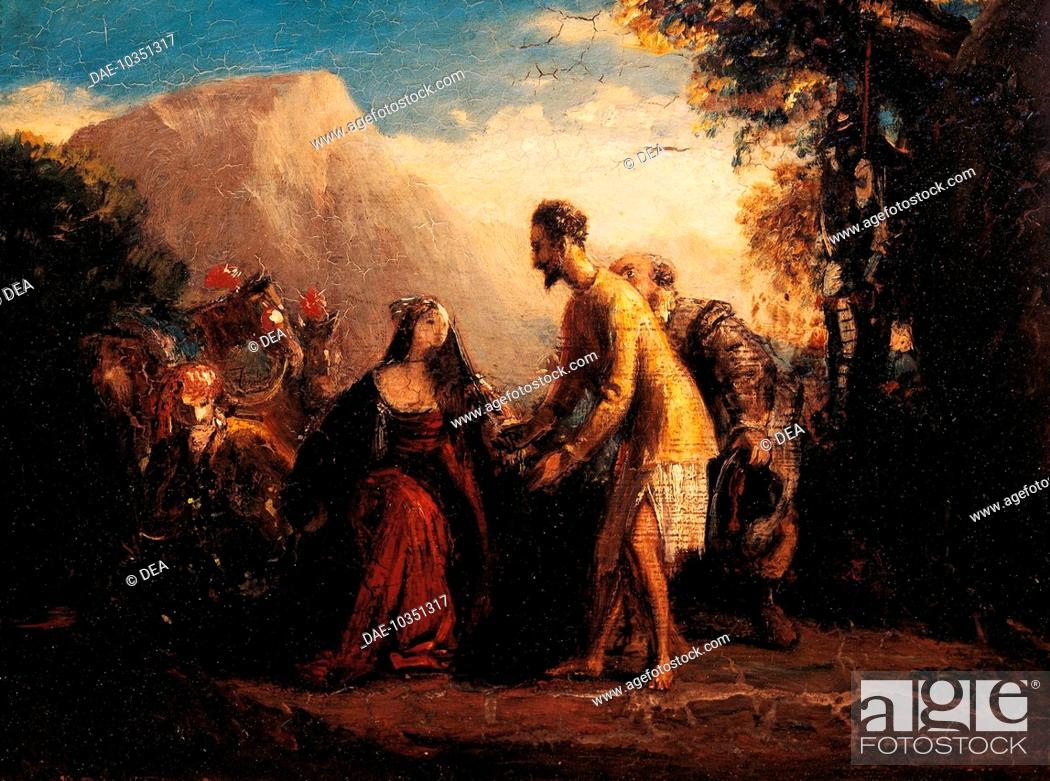 Stock Photo: Don Quixote and Dorothea, oil painting by Charles Robert Leslie (London, 1794-1859).  London, Victoria And Albert Museum.