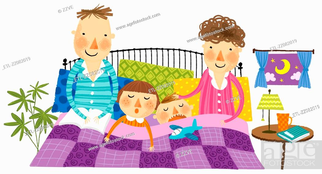 Stock Photo: portrait of family sleeping.