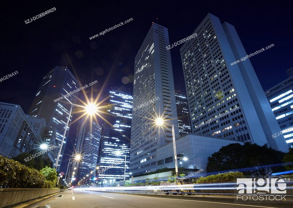 Stock Photo: Office buildings at night.