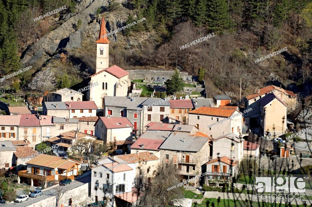 Stock Photo: France, Alpes de Haute Provence, the Vallee de la Bleone, Prads Haute Bleone village 1048m.