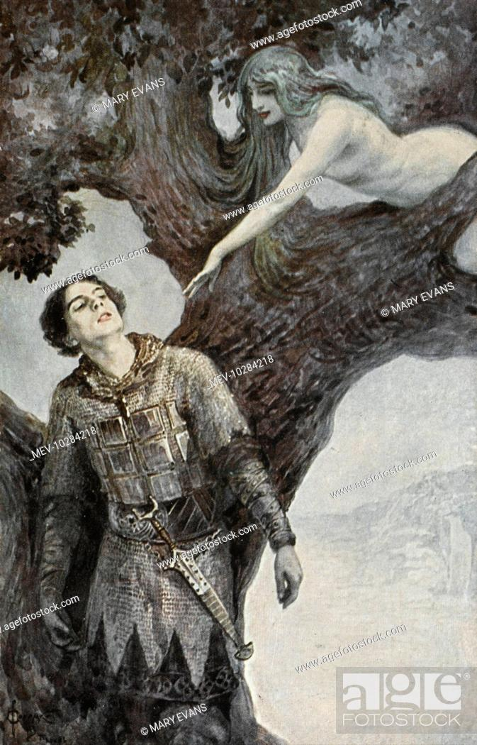 Stock Photo: A medieval knight in chainmail is tempted by a naked nymph balancing on the branch of a tree.