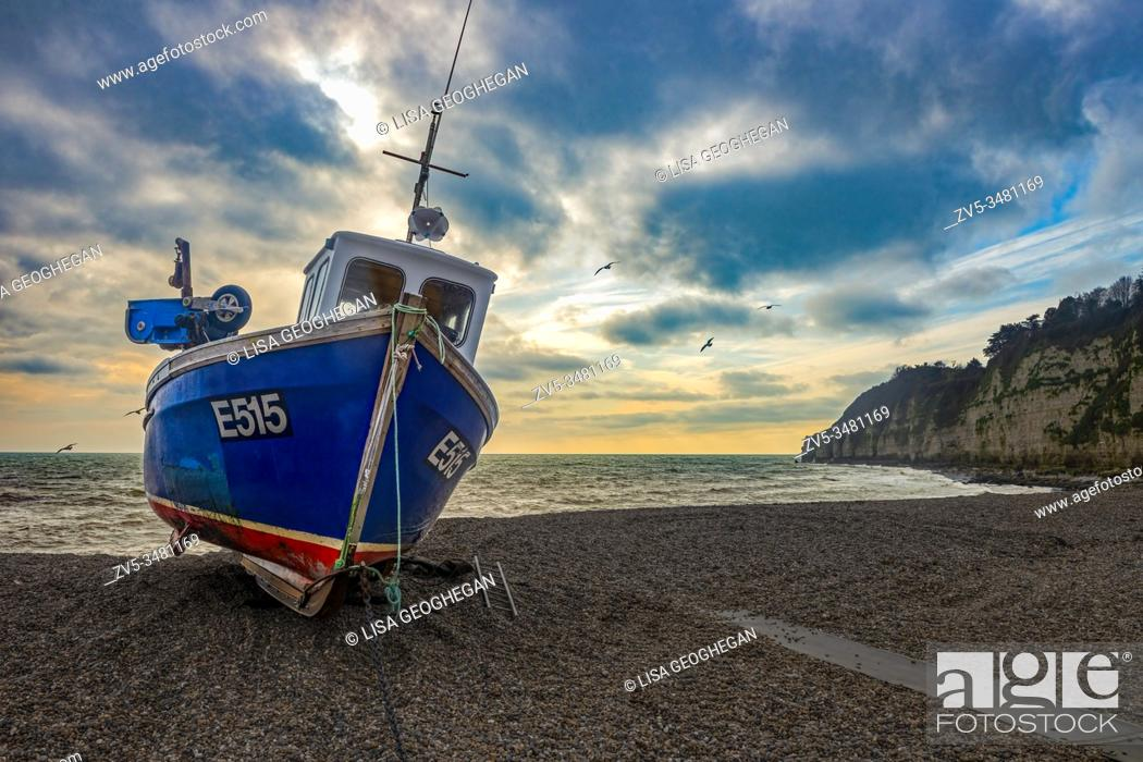 Stock Photo: A fishing boat on the beach at Beer, Devon, England. Uk.