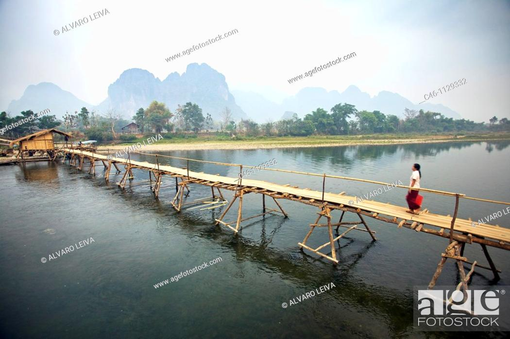 Stock Photo: Nam Xong River. Bambu bridge. Vang Viang. Laos.