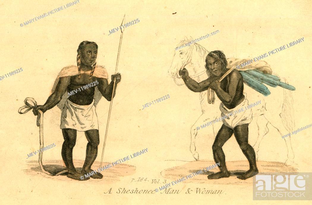 Sheshonee Shoshone Or Shoshoni Man And Woman Native American
