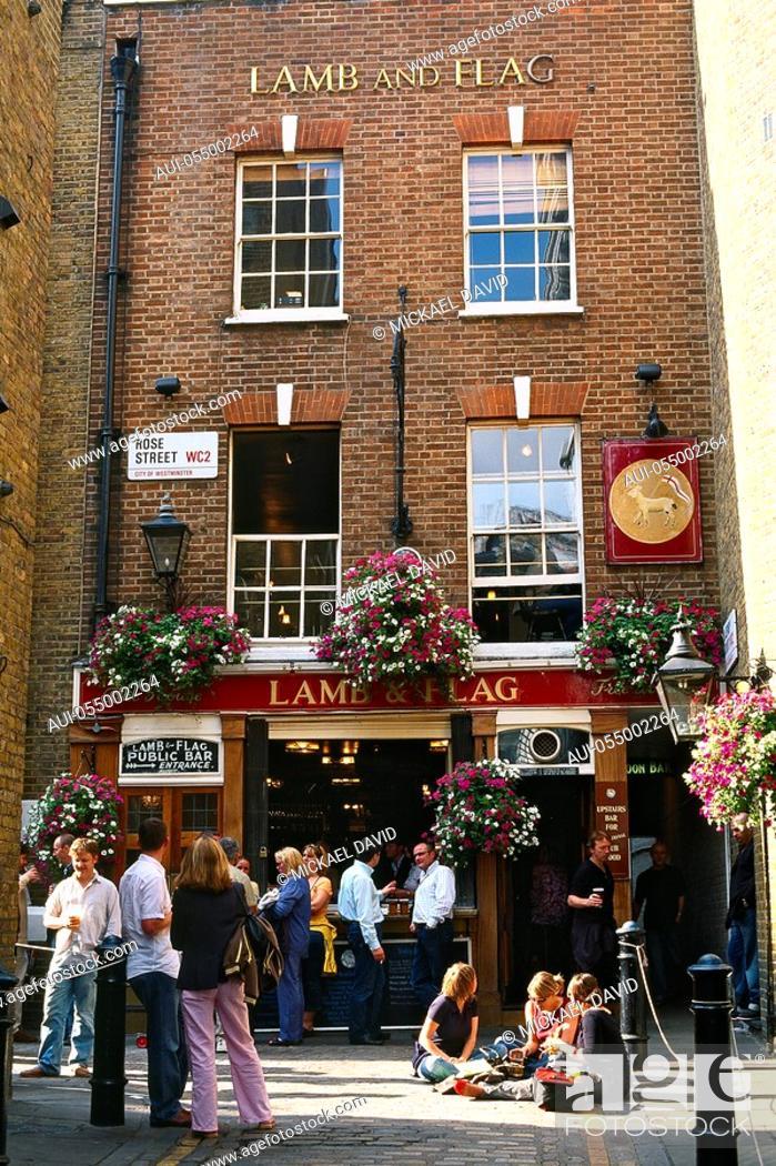 Stock Photo: England - London - Soho district - Covent Garden - Pub Lamb and Flag.