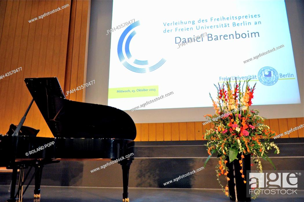 Stock Photo: The stage during the ceremony for the Freedom Award of Freie Universitaet Berlin is pictured with a piano and flowers in the Henry Ford Building of the Freie.