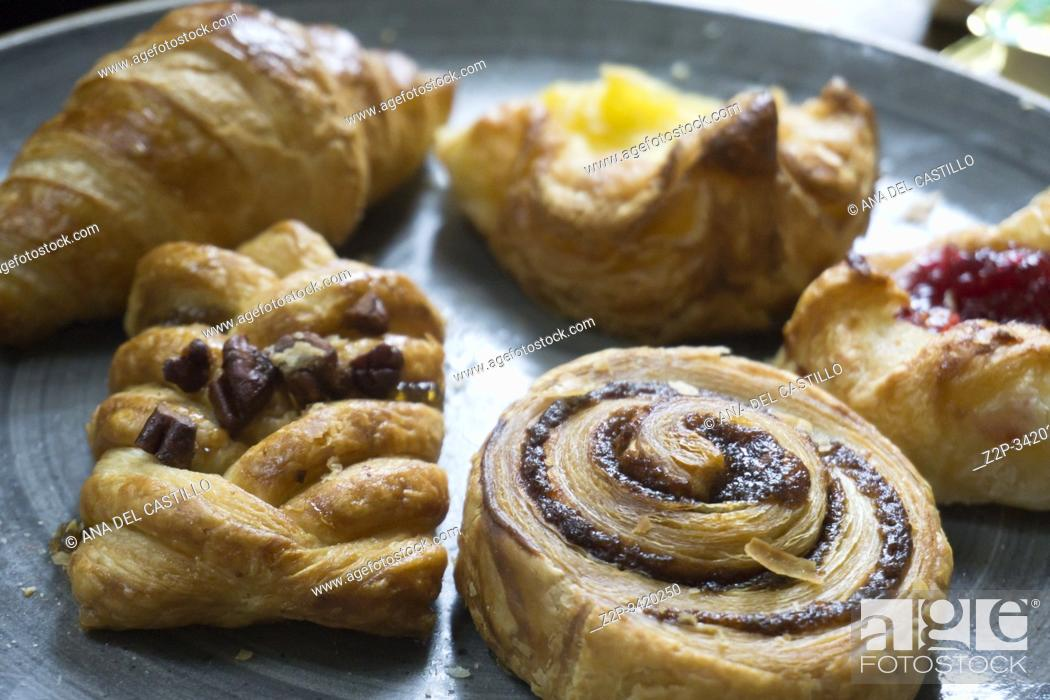 Stock Photo: Baked pastries for breakfast in hotel UK.
