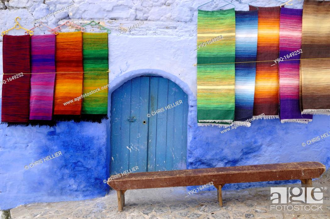 Stock Photo: Display or Moroccan Carpets or Rugs at Chefchaouen Morocco.