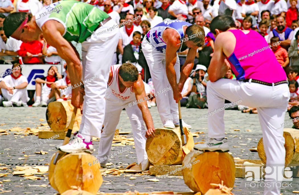 Stock Photo: Basque rural sport. San Fermin. Pamplona. Spain.