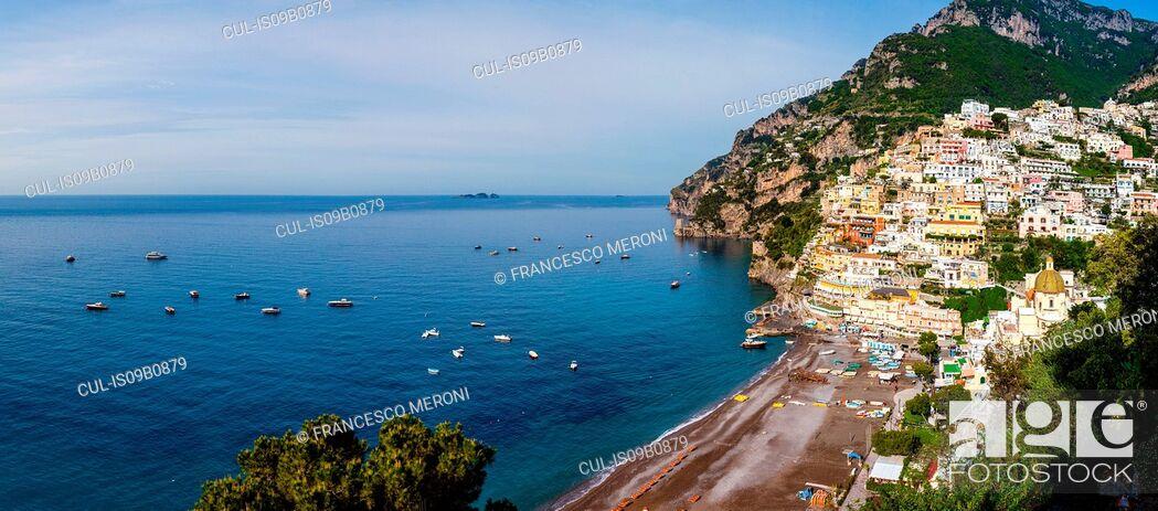Stock Photo: Cliff side buildings by sea, Positano, Amalfi Coast, Italy.