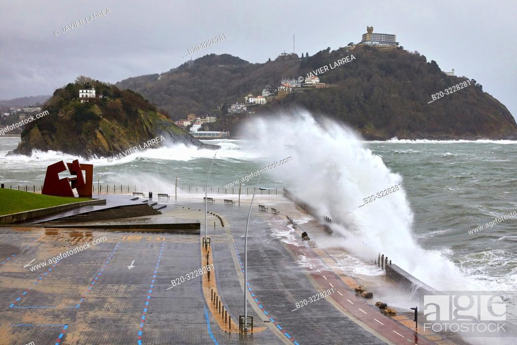 "Stock Photo: ""Construcción Vacia"" by Jorge Oteiza, Tempest in the Cantabrian Sea, Waves and Wind, Explosive Cyclogenesis, Paseo Nuevo, Donostia, San Sebastian, Gipuzkoa."