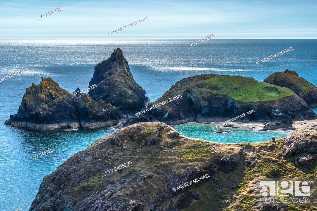Stock Photo: Dramatic coastal scenery at Kynance Cove on the Lizard peninsula in southern Cornwall, England, United Kingdom.