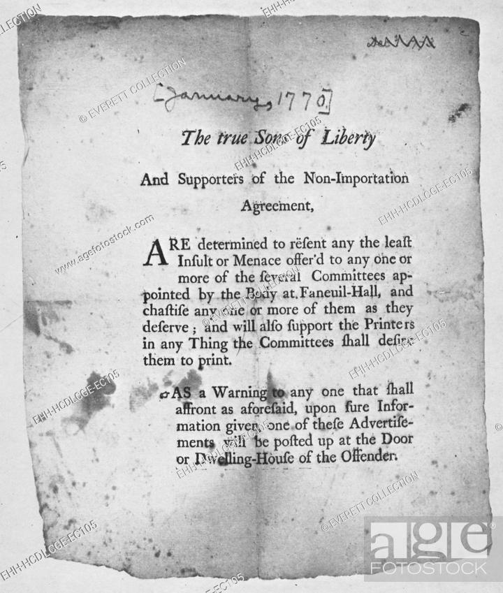 The American Revolution Broadside Encouraging Action By The Sons Of
