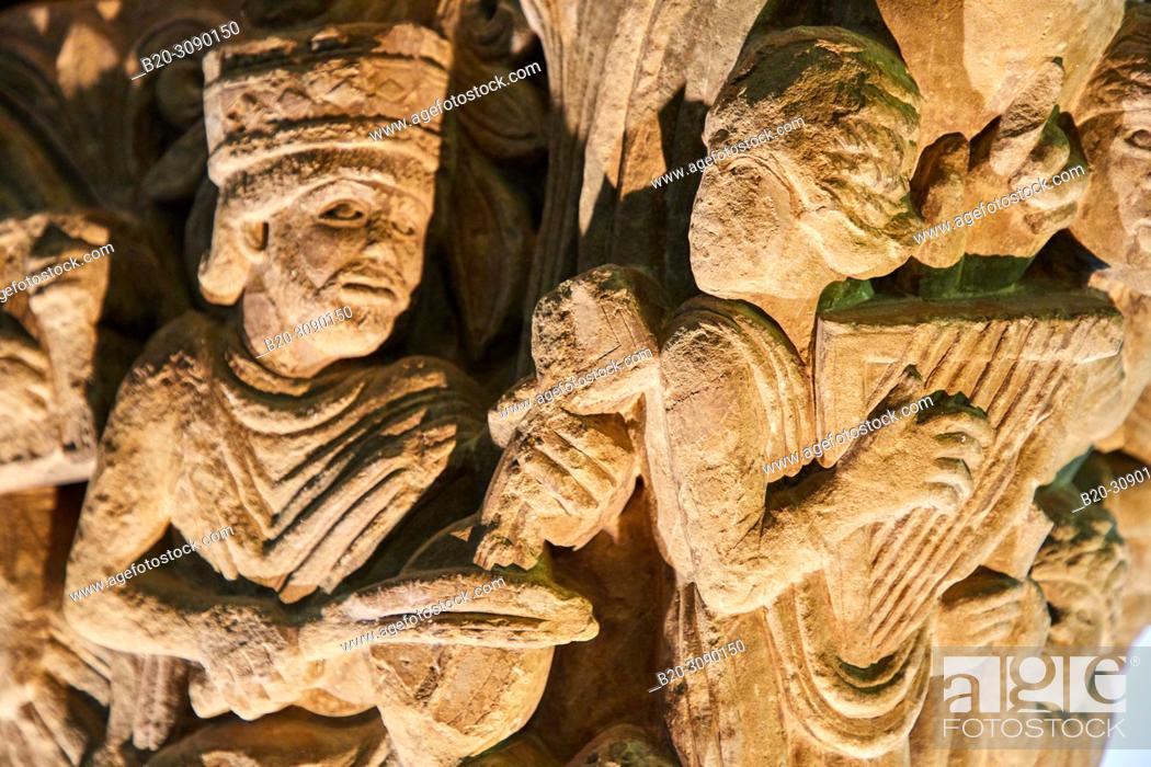 Stock Photo: Capitel del Rey David y Los Músicos, 11th-12th c., Catedral de San Pedro de Jaca, Diocesan Museum, Museo Diocesano, Jaca, Huesca province, Aragón, Spain, Europe.