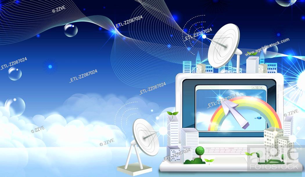 Stock Photo: Communication Satellite Dish and laptop.