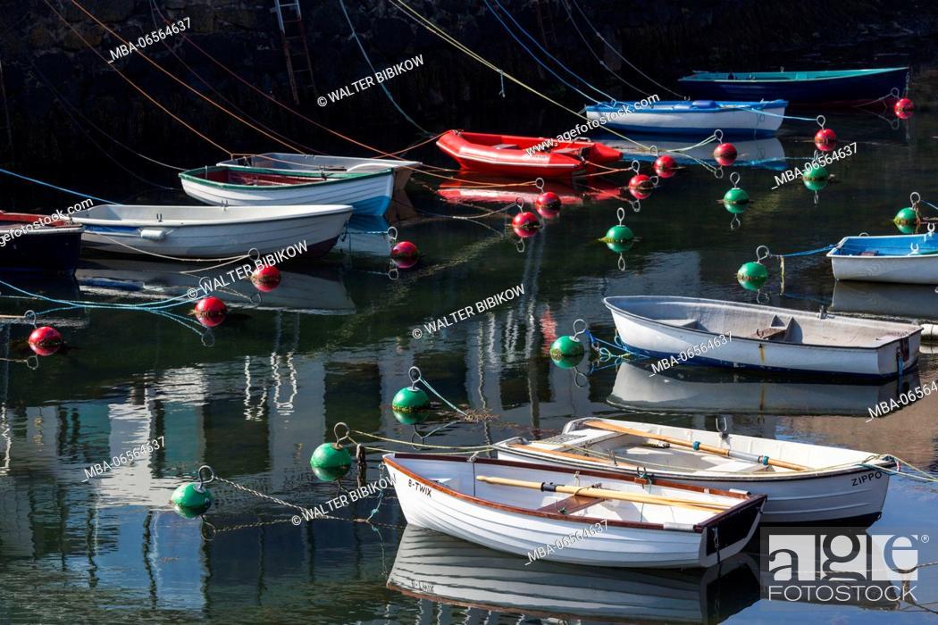 Stock Photo: UK, Northern Ireland, County Antrim, Portrush, harbor with boats.