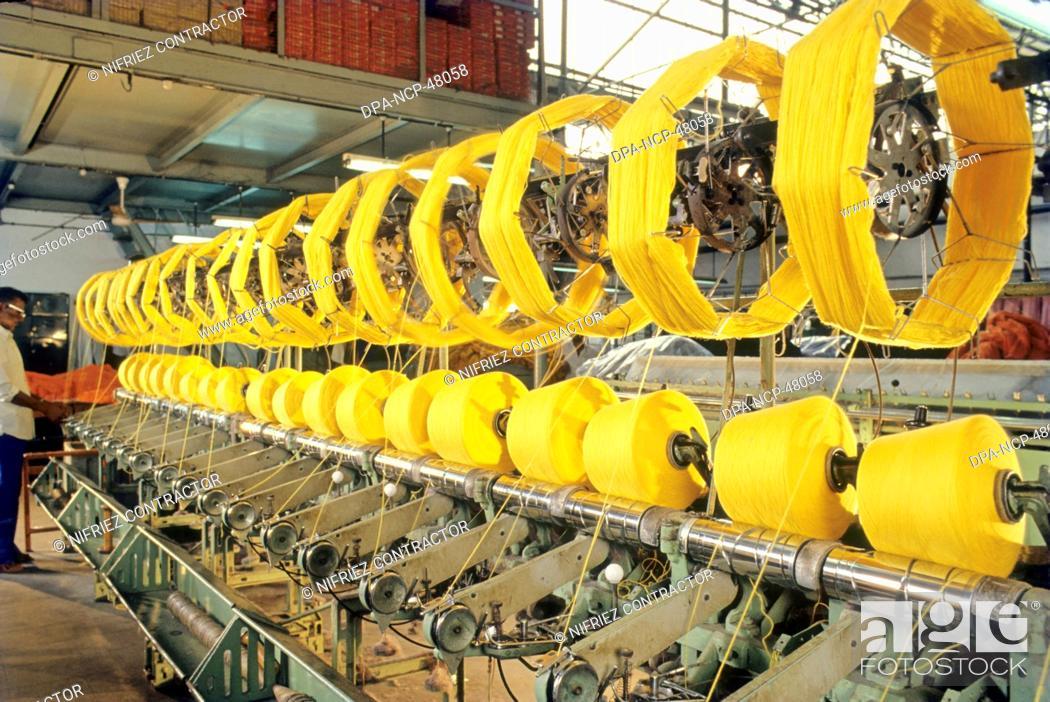 yarn spinning machine , textile industry , india, Stock Photo