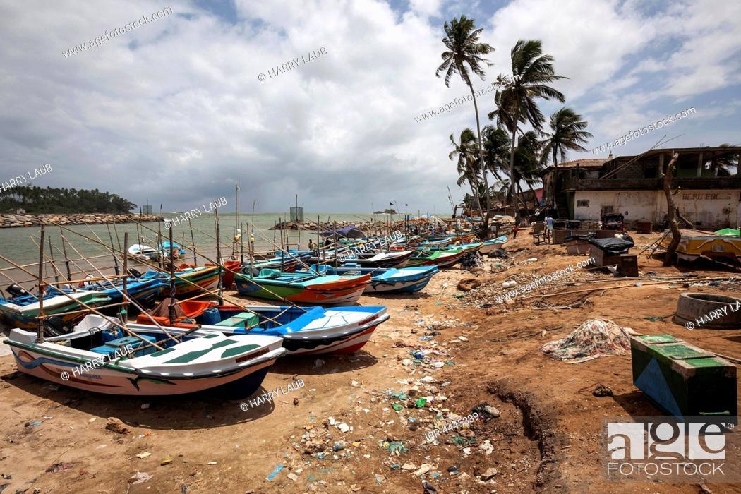 Stock Photo: Fishing boats on beach, Beruwela, Western Province, Sri Lanka.