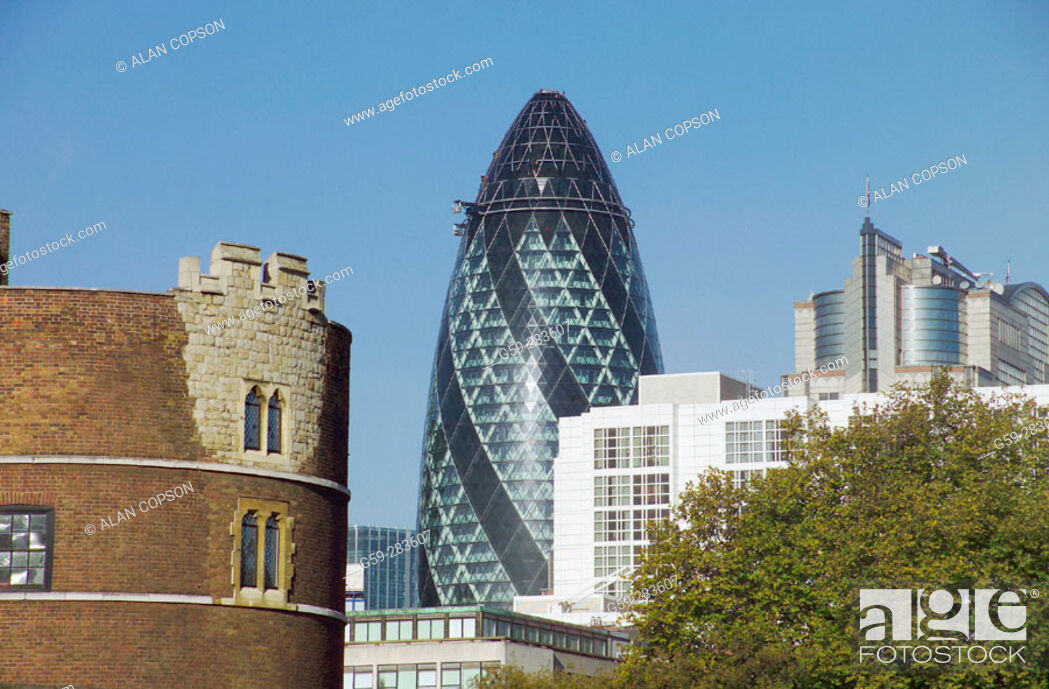 Stock Photo: Swiss Re tower from Tower of London. London. England.