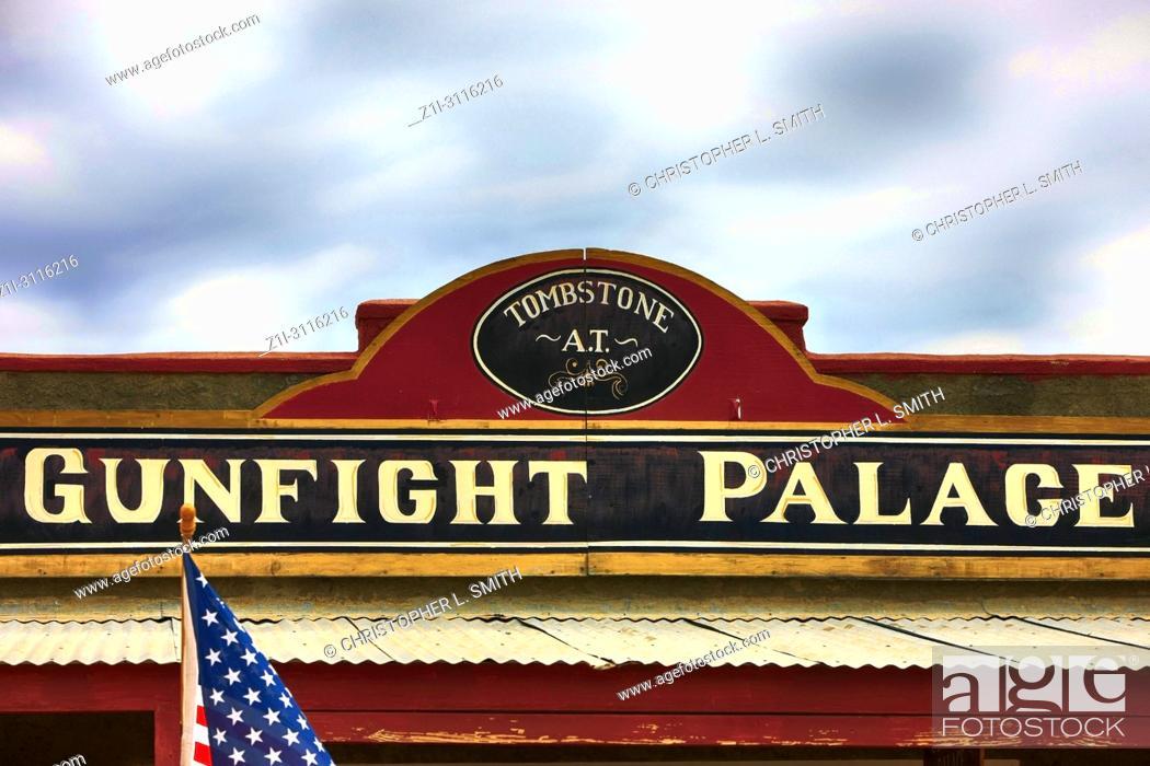 Stock Photo: Sign above the Gunfight Palace Saloon on E Allen St in historic Tombstone, Arizona.