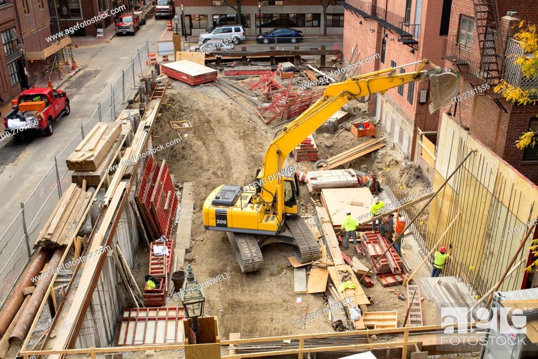 Stock Photo: Construction, Bay Village, Boston, Massachusetts, USA.