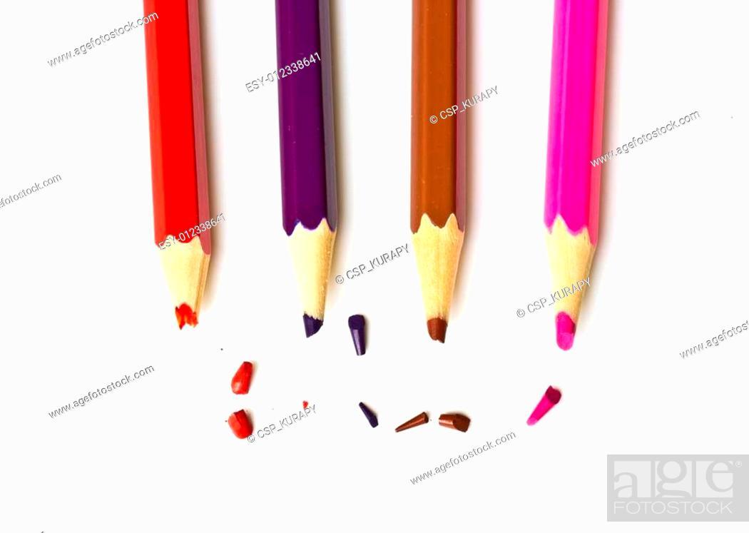Stock Photo: Colored Pencil on White Background.(Broken pencil lead).