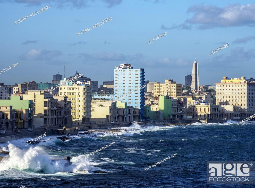 Stock Photo: View from El Morro Castle towards El Malecon, Centro Habana and Vedado, Havana, La Habana Province, Cuba.