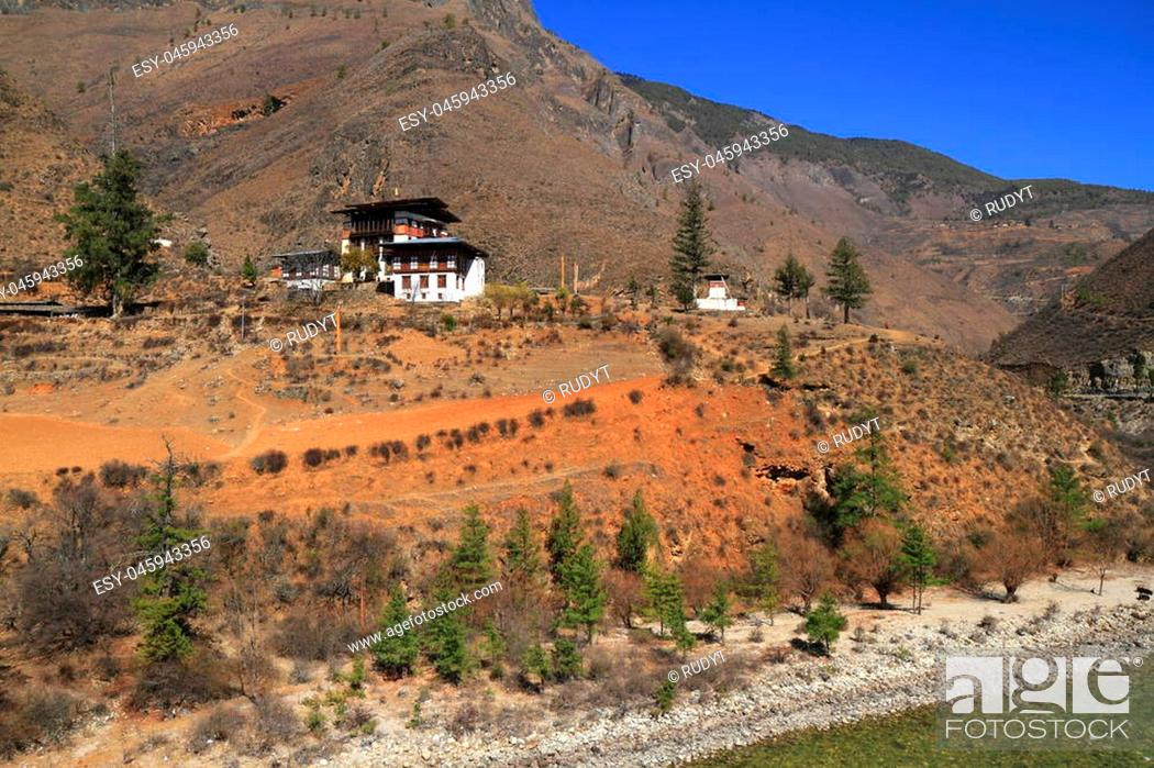 Stock Photo: Small temple on the mountain, Paro Valley, Bhutan.