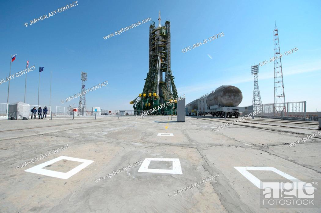 Stock Photo: The Soyuz TMA-12M spacecraft is pictured at the launch pad at the Baikonur Cosmodrome on March 24, 2014 in Kazakhstan. Launch of the Soyuz rocket is scheduled.