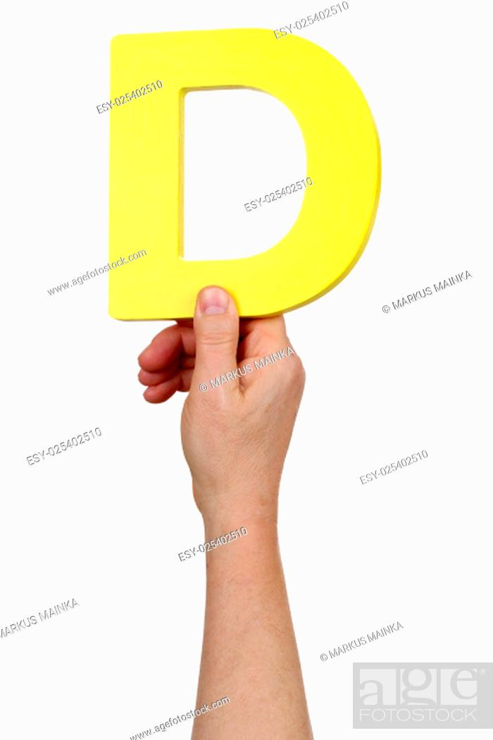 Stock Photo: hand holding letter d from alphabet cut.