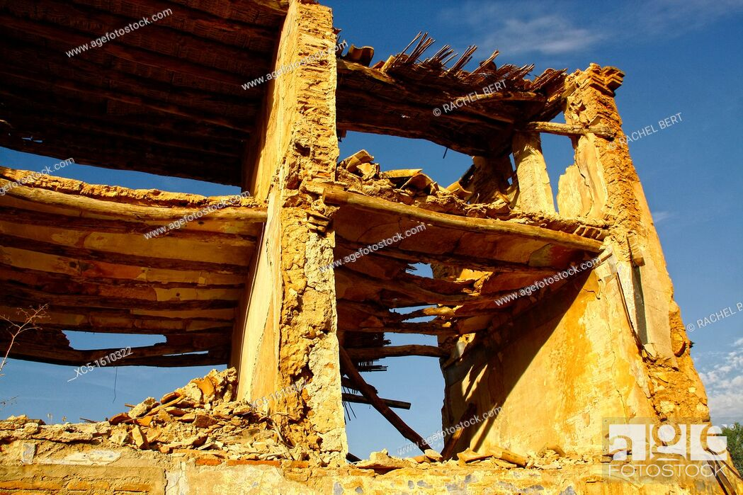 Stock Photo: Belchite Old Town  Ruins of the Spanish Civil War 1936-1939  Zaragoza, Aragon, Spain.