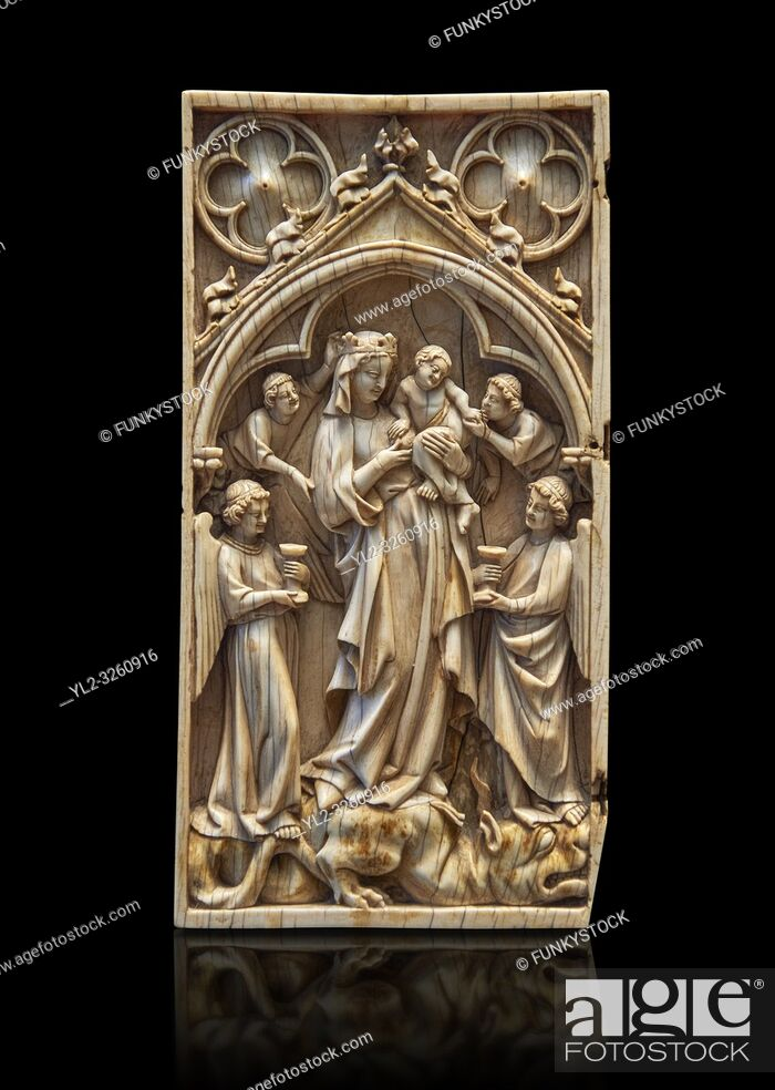 Stock Photo: Medieval Gothic ivory diptych depicting the Virgin and child, made in Paris in the first quarter of the 14th century. inv 11097, The Louvre Museum, Paris.