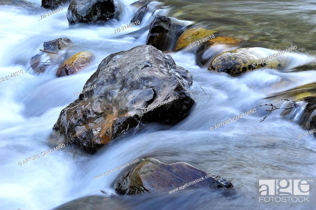 Stock Photo: River Celorno. Puebla de Lillo, Leon, Spain.