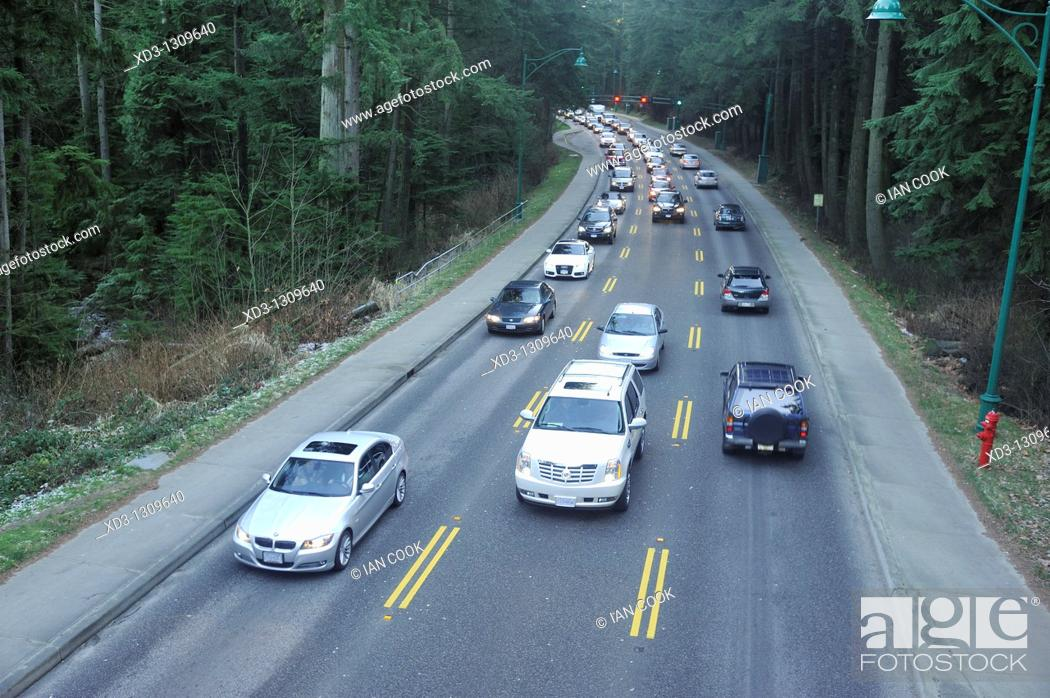 Stock Photo: Traffic on Stanley Park Causeway, Vancouver, British Columbia, Canada.