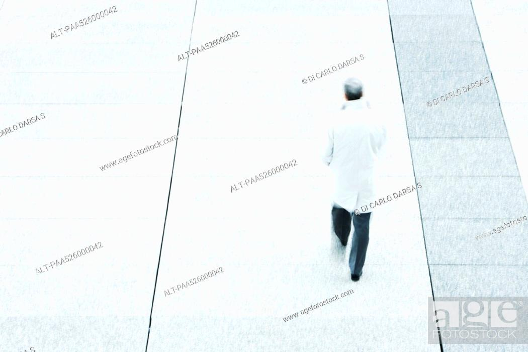 Stock Photo: High angle rear view of business man walking down sidewalk.
