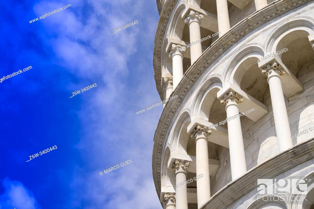 Stock Photo: Construction and architectural details of the famous Leaning Tower of Pisa Italy.