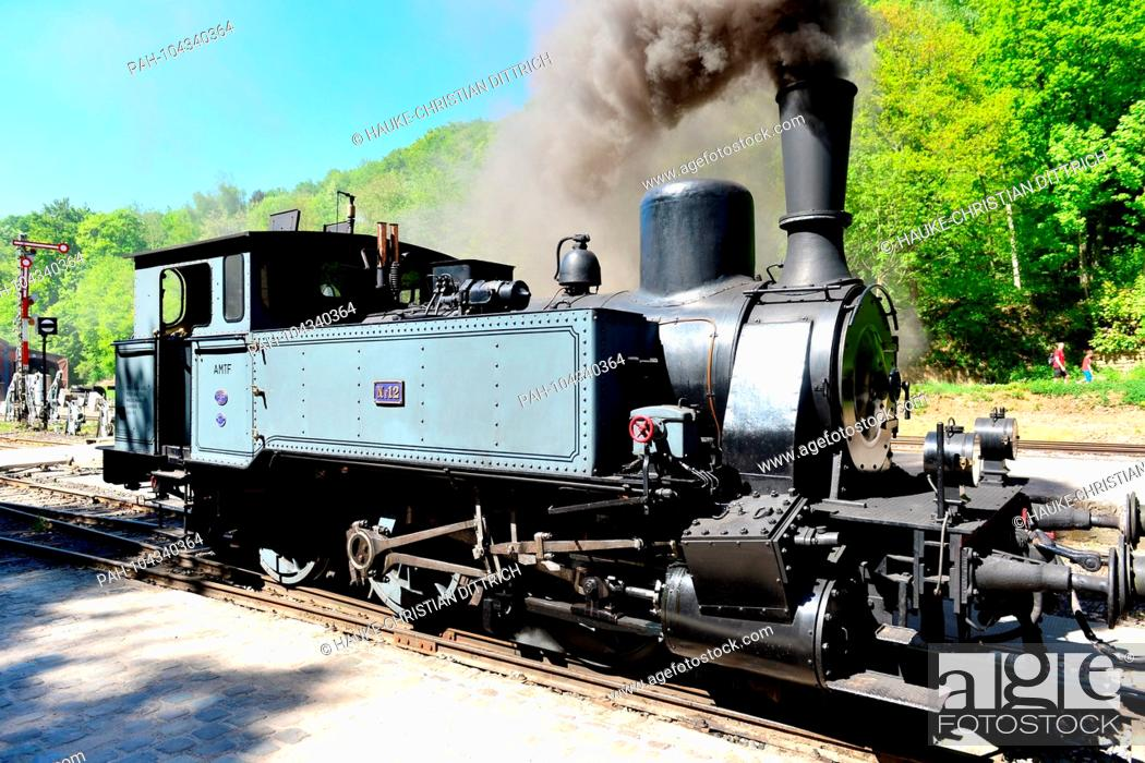 Stock Photo: A historic steam locomotive at Minett Park Fond-de-Gras near Niedercorn (Luxemburg), 06 May 2018. | usage worldwide. - Niederkorn/Esch-Uelzecht/Luxembourg.