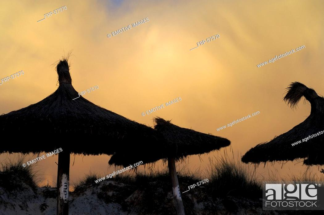 Stock Photo: Evening mood on beach with sunshades.
